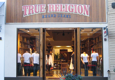True Religion Brand Jeans storefront. Designer jeans in Corte Madera, CALIFORNIA
