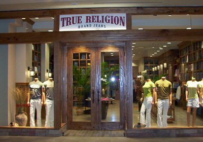 True Religion Brand Jeans storefront. Designer jeans in Houston, TEXAS