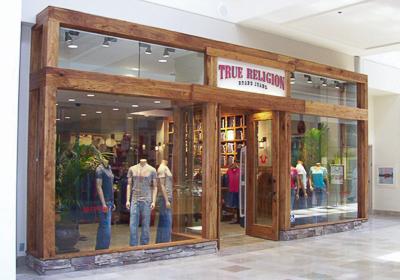 True Religion Brand Jeans storefront. Designer jeans in Santa Clara, CALIFORNIA