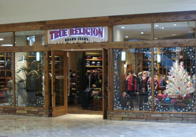 True Religion Brand Jeans storefront. Designer jeans in Beachwood, OHIO