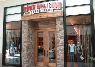 True Religion Brand Jeans storefront. Designer jeans in Boca Raton, FLORIDA