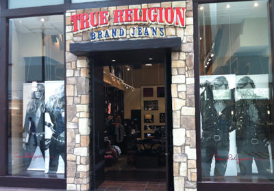 True Religion Brand Jeans storefront. Designer jeans in Cerritos, CALIFORNIA