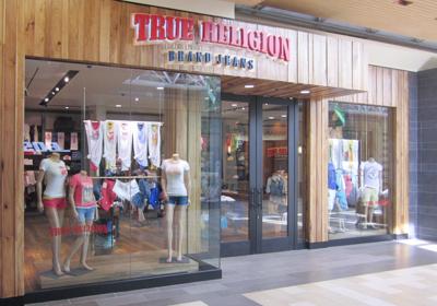 True Religion Brand Jeans storefront. Designer jeans in Newark, DELAWARE