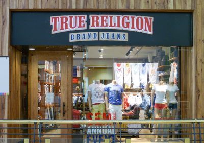 True Religion Brand Jeans storefront. Designer jeans in Raleigh, NORTH CAROLINA