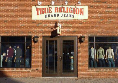 True Religion Brand Jeans storefront. Designer jeans in Central Valley, NEW YORK