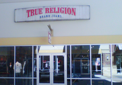 True Religion Brand Jeans storefront. Designer jeans in Cypress, TEXAS