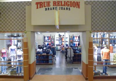 True Religion Brand Jeans storefront. Designer jeans in Auburn Hills, MICHIGAN