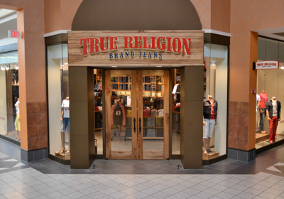 True Religion Brand Jeans storefront. Designer jeans in Niagara Falls, NEW YORK