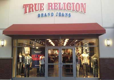 True Religion Brand Jeans storefront. Designer jeans in Eagan, MINNESOTA