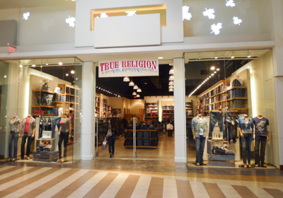 True Religion Brand Jeans storefront. Designer jeans in Vaughan, ONTARIO