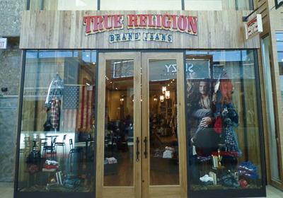 True Religion Brand Jeans storefront. Designer jeans in Toronto, ONTARIO