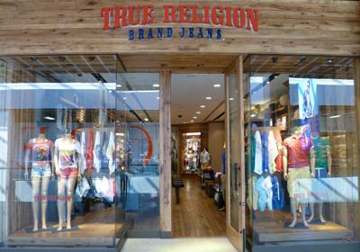 True Religion Brand Jeans storefront. Designer jeans in Edmonton, ALBERTA