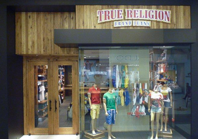 True Religion Brand Jeans storefront. Designer jeans in Burnaby, BRITISH COLUMBIA