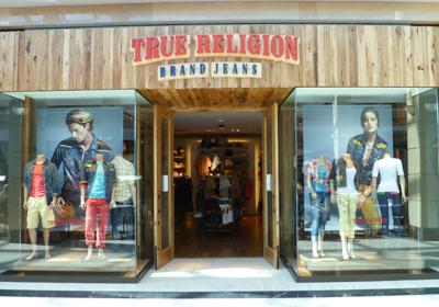 True Religion Brand Jeans storefront. Designer jeans in Richmond, BRITISH COLUMBIA
